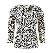 Buy Viyella Leaf Print Top, Navy/Champagne Online at johnlewis.com