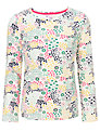 John Lewis Girl Long Sleeve Flower and Heart Print Top, White/Multi
