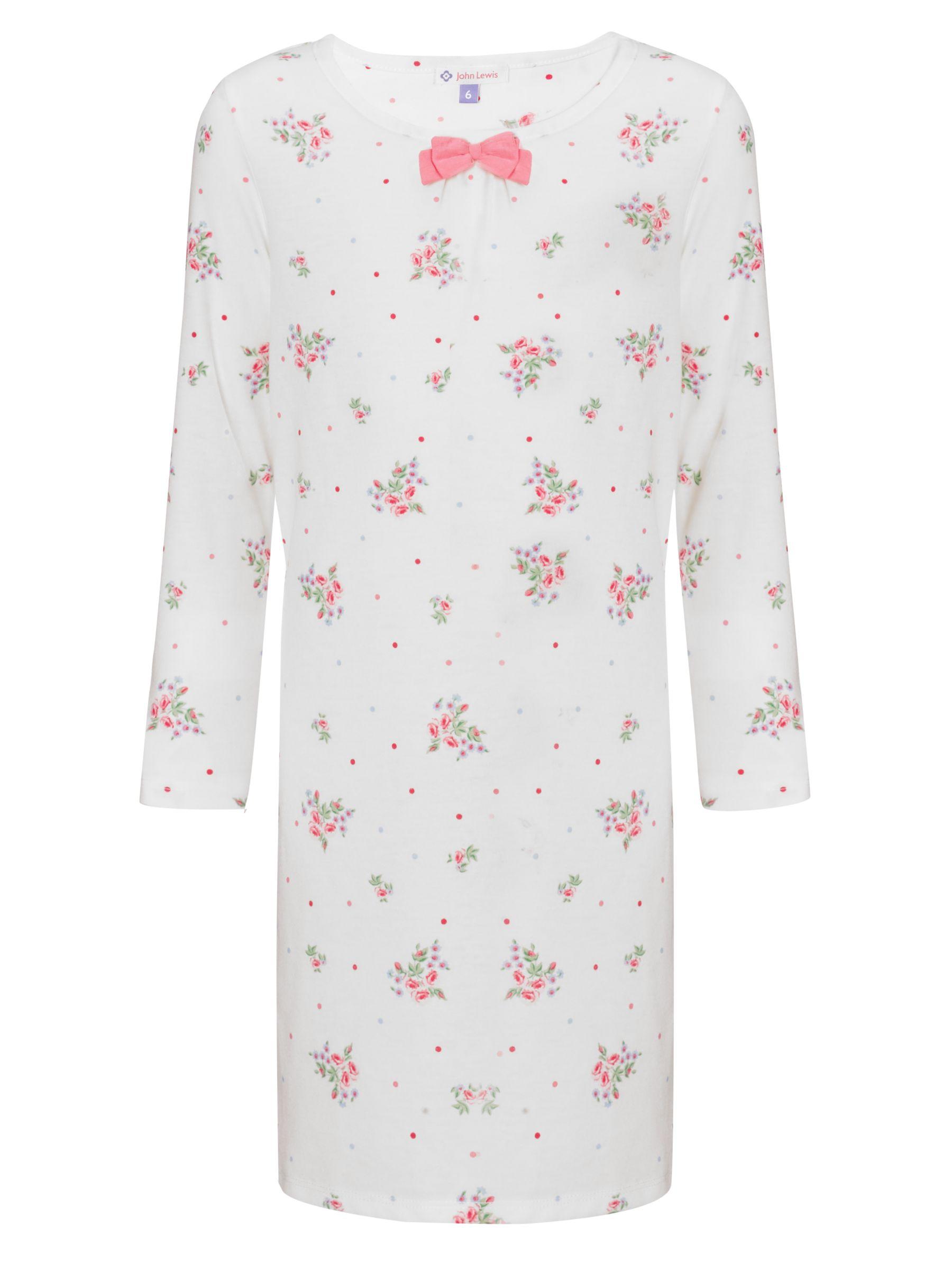 John Lewis Girl Long Sleeve Vintage Rose Nightie, Cream
