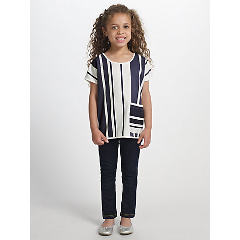 Buy Kin by John Lewis Girls' Oversized Striped T-Shirt, White/Navy Online at johnlewis.com