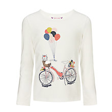 Buy John Lewis Girl Long Sleeved Bicycle Top, Cream Online at johnlewis.com
