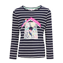 Buy John Lewis Girl Long Sleeve Bird House Graphic Top, Navy Online at johnlewis.com