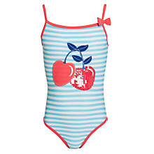 Buy John Lewis Girl Cherry Swimsuit, Aqua/Multi Online at johnlewis.com