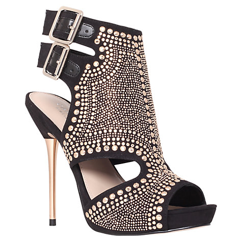 Buy Carvela Gyrate Heeled Sandals, Black/Gold Online at johnlewis.com