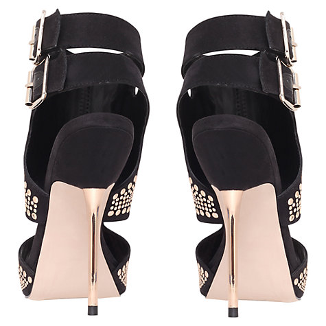 Buy Carvela Gyrate Heeled Leather Sandals, Black/Gold Online at johnlewis.com