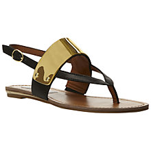 Buy Steve Madden Cuff Metal Plate Toe Post Sandals, Black/Gold Online at johnlewis.com
