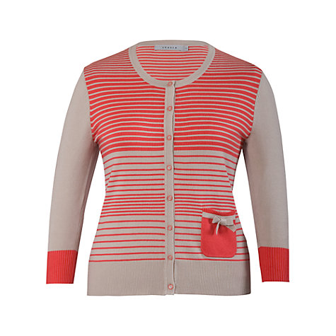 Buy Chesca Stripe Cardigan, Taupe/Coral Online at johnlewis.com