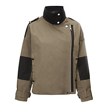 Buy Whistles Eddie Funnel Jacket, Khaki Online at johnlewis.com