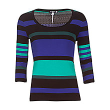 Buy Betty Barclay 3/4 Sleeve Stripe Top, Black/Blue Online at johnlewis.com