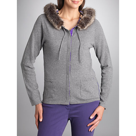 Buy Betty Barclay Faux Fur Trimmed Cardigan, Grey / Violet Online at johnlewis.com