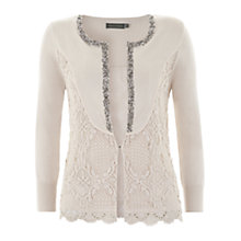Buy Mint Velvet Lace Bead Cardigan, Pale Pink Online at johnlewis.com
