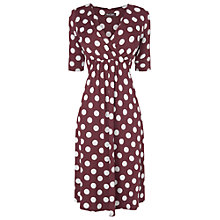 Buy Phase Eight Polka Dot Dress, Oxblood/Ivory Online at johnlewis.com