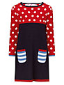 John Lewis Girl Knitted Spot Dress, Navy