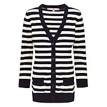 Buy John Lewis Girl Nautical Stripe Long Line Cardigan, Navy/Cream Online at johnlewis.com
