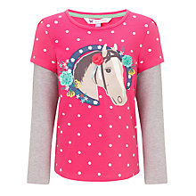 Buy John Lewis Girl Mock Sleeves Horse Top, Pink/Grey Online at johnlewis.com