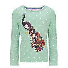 Buy John Lewis Girl Peacock Graphic Top, Green Online at johnlewis.com