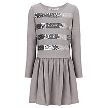 Buy John Lewis Girl Sequin Stripe Drop Waist Dress, Grey Marl Online at johnlewis.com