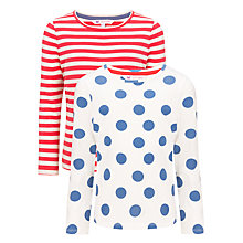 Buy John Lewis Girl Stripes and Spots Long Sleeved Top, Pack of 2, Red/Navy Online at johnlewis.com