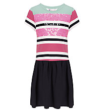 Buy John Lewis Girl Sequin Stripe Drop Waist Dress, Peacoat Online at johnlewis.com