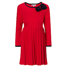 Buy John Lewis Girl Knitted Pleat Skirt Dress, Red Online at johnlewis.com