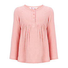 Buy John Lewis Girl Button Front Top, Pink Online at johnlewis.com