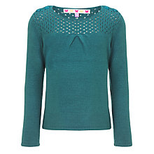 Buy John Lewis Girl Moss Stitch Panel Jumper, Green Online at johnlewis.com
