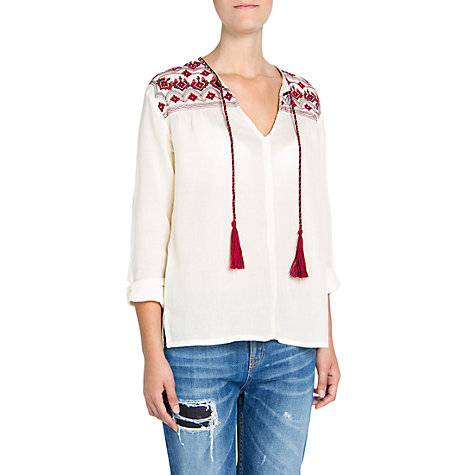 Buy Mango Embroidered Cotton Blouse, Natural White Online at johnlewis.com