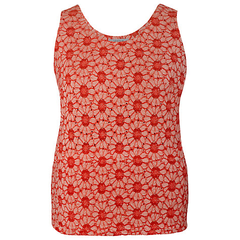Buy Chesca Daisy Jersey Lace Top, Coral Online at johnlewis.com