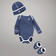 Buy Gant Bodysuit, Hat and Booties Set, Indigo Online at johnlewis.com