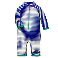 Buy John Lewis Striped Sun Pro with Front Zip and Hat, Blue Online at johnlewis.com