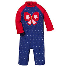Buy John Lewis Butterfly Surf Suit with Hat, Navy/Red Online at johnlewis.com