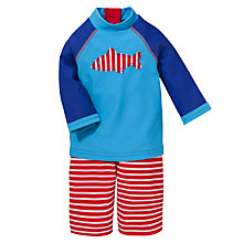 Buy John Lewis Fish Print Stripe Surf Suit with Hat, 2 Piece, Blue/Red Online at johnlewis.com