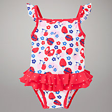 Buy John Lewis Girl Butterflies and Ladybirds Swimsuit, Cream Online at johnlewis.com