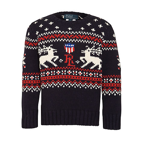 Buy Polo Ralph Lauren Boys' Reindeer Fair Isle Jumper, Navy/Multi Online at johnlewis.com