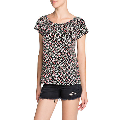 Buy Mango Liberty Print Top, Black Online at johnlewis.com