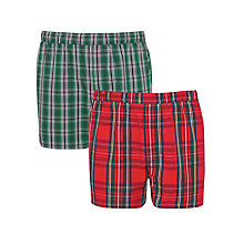Buy Gant Woven Check Boxers, Pack Of 2, Green/Red Online at johnlewis.com