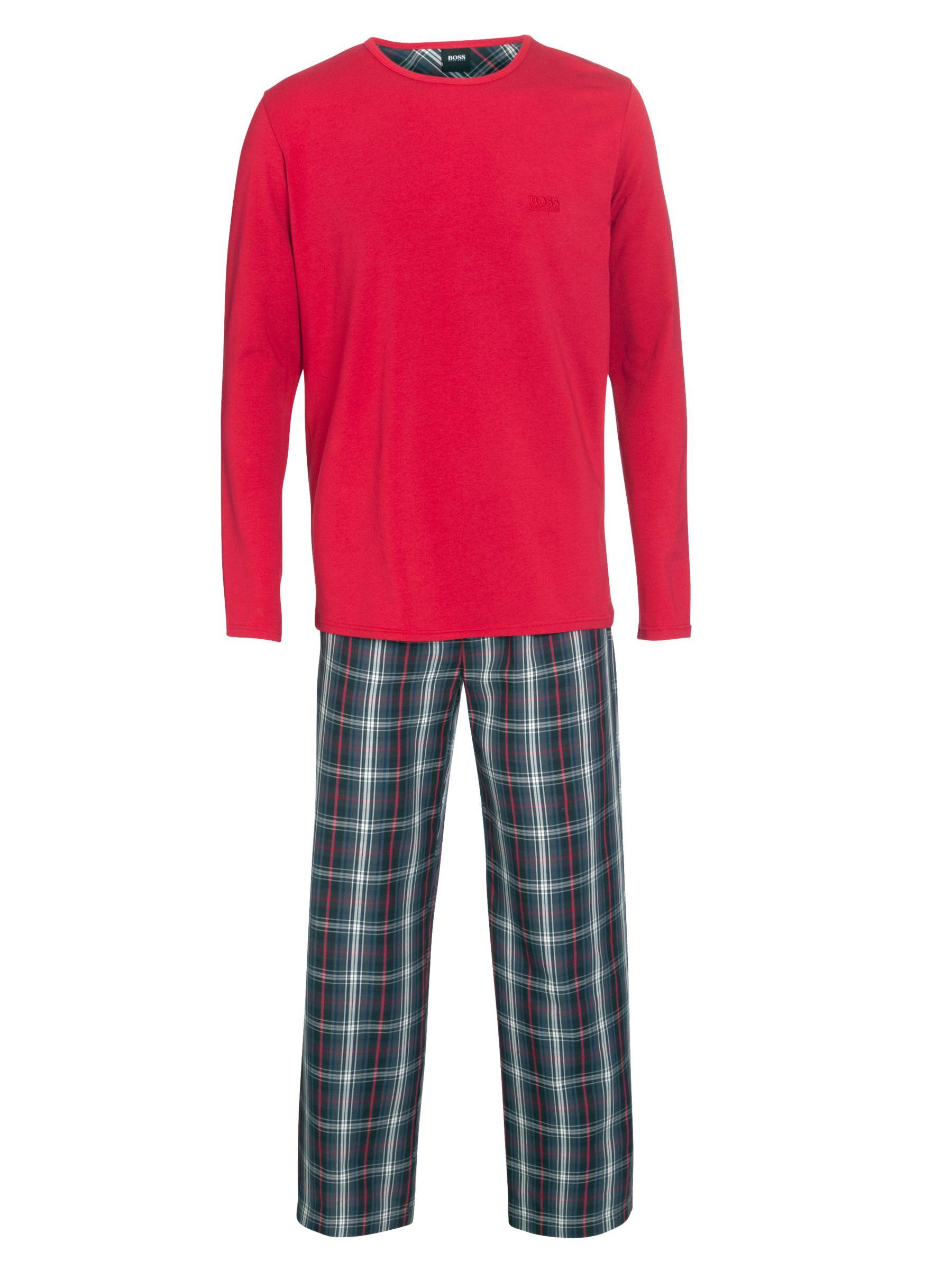 Hugo Boss Plain and Check Pyjamas Set, Multi