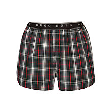 Buy Hugo Boss Woven Check Boxers, Grey/Red Online at johnlewis.com