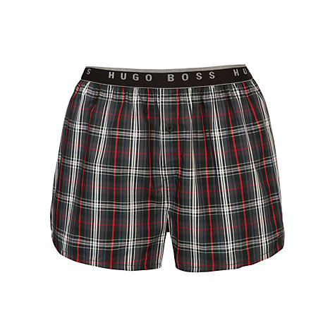 Buy BOSS Woven Check Boxers, Grey/Red Online at johnlewis.com