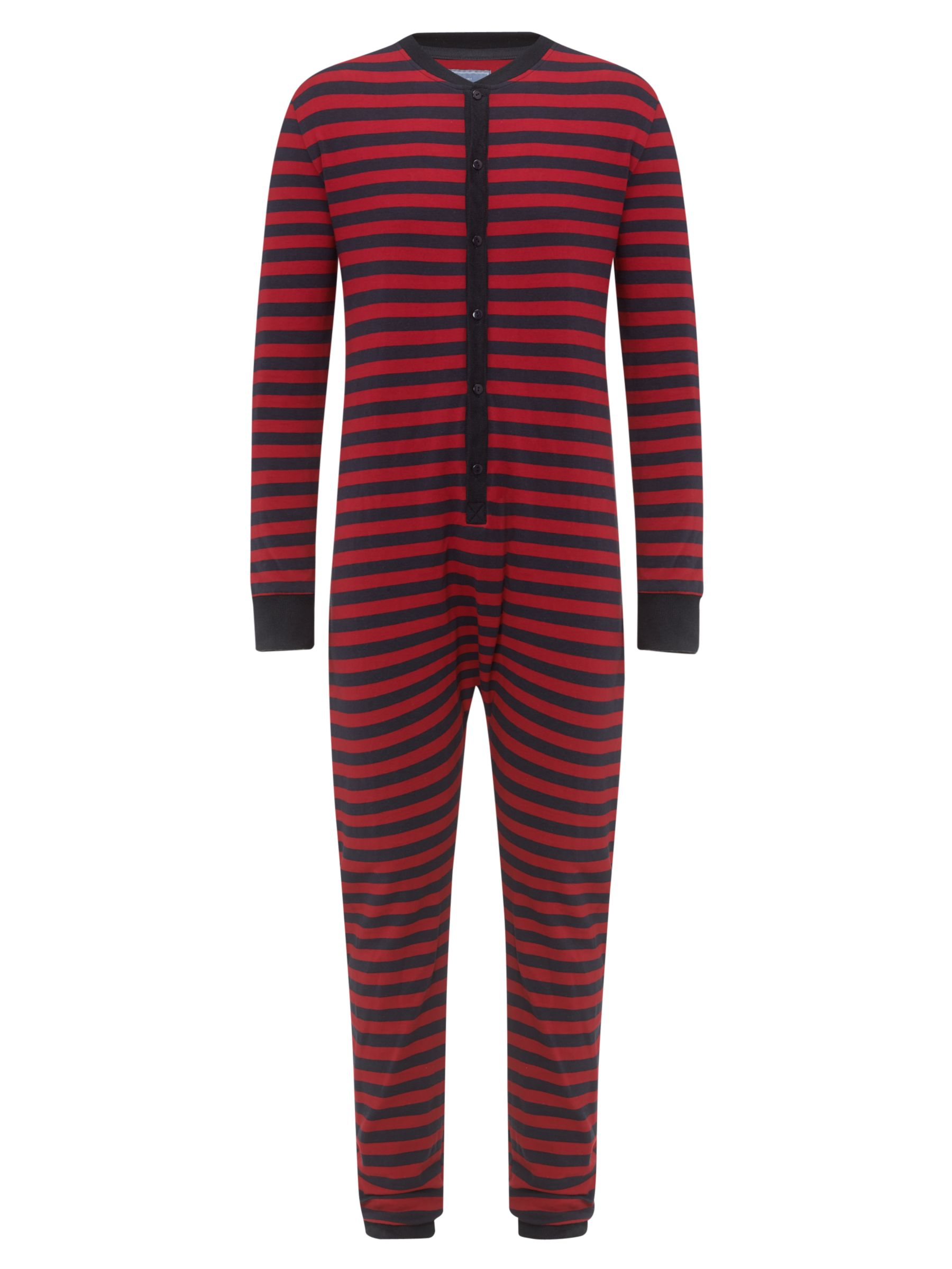 John Lewis Striped Lightweight Onesie, Red/Navy