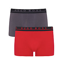 Buy Hugo Boss Stretch Cotton Trunks, Pack of 2, Red/Grey Online at johnlewis.com