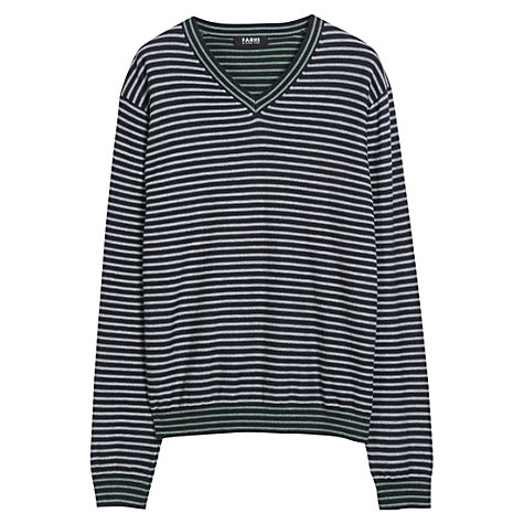 Buy Farhi by Nicole Farhi Stripe V-Neck Jumper Online at johnlewis.com