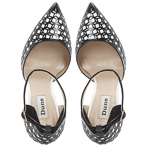 Buy Dune Caramelise Laser Cut Out Court Shoes, Black/White Online at johnlewis.com
