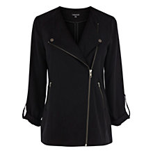 Buy Warehouse Long Line Zip Biker Jacket, Black Online at johnlewis.com