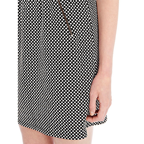 Buy Warehouse Spot Textured Flared Dress, Black Pattern Online at johnlewis.com