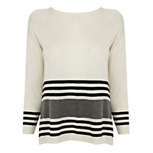 Buy Warehouse Striped Pleated Jumper, Light Grey Online at johnlewis.com