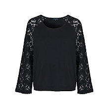 Buy French Connection Lace Long Sleeve Top, Black Online at johnlewis.com