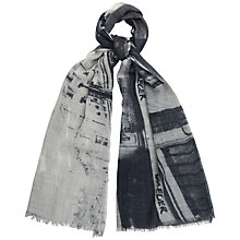 Buy Jaeger Regent Street Print Scarf, Grey Online at johnlewis.com
