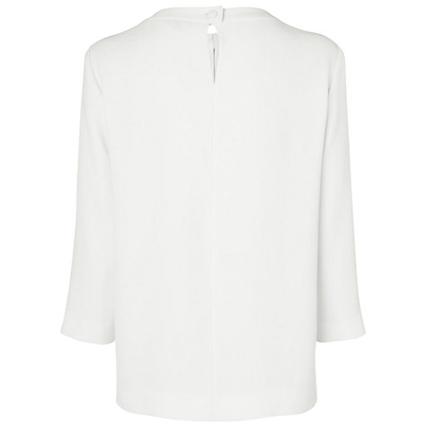 Buy Jaeger Ruched Neck Blouse, Ivory Online at johnlewis.com