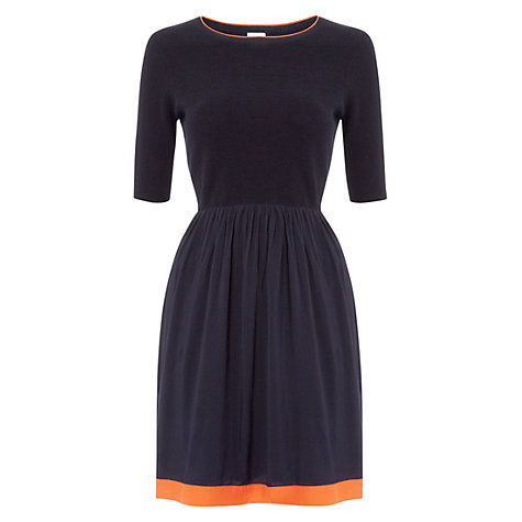 Buy NW3 by Hobbs Woven Mix Dress, French Navy Online at johnlewis.com